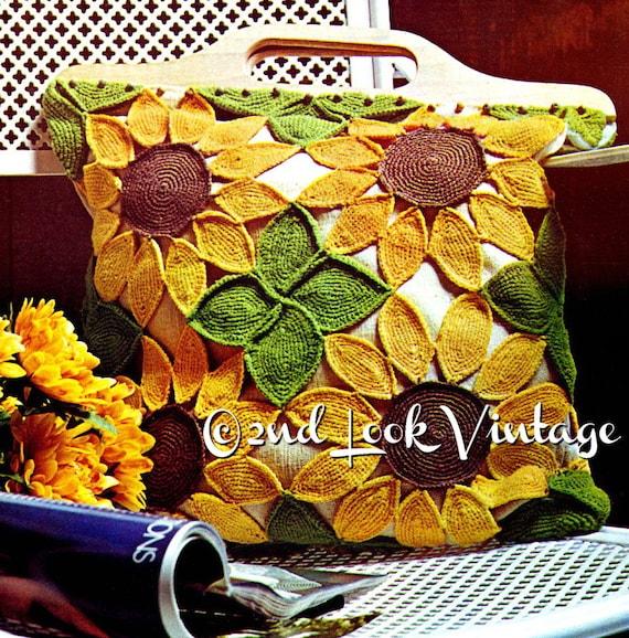 Jahrgang häkeln Muster der 1970er Jahre Sonnenblume Tasche