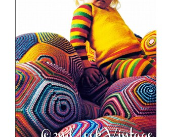 Vintage Crochet Pattern Giant Pillow Ball Pouf Floor Cushion Granny Square Digital Download