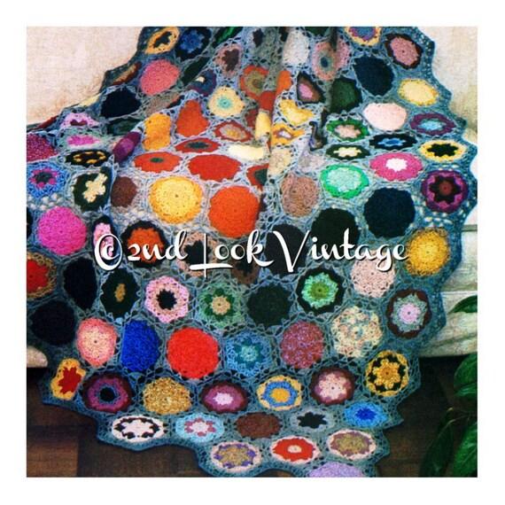 Häkeln Muster Blume Steingarten Afghan Oma Quadrate Jahrgang | Etsy