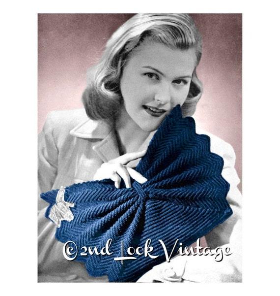 1940er Jahren gehäkelt häkeln Muster Fan Form Geldbörse Clutch | Etsy