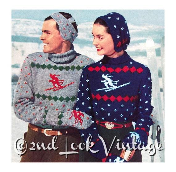 Vintage Knitting Pattern 1950s Ski Sweater Skier Nordic Etsy