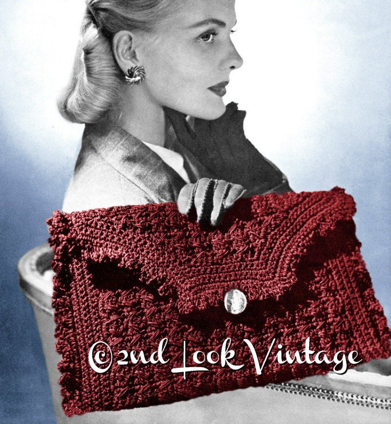 Vintage 1940s Crochet Pattern Ruffled Envelope Clutch Purse Etsy