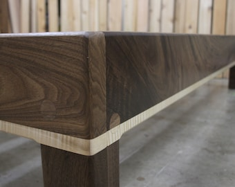 Curly Maple and Walnut Queen Platform Bed Frame with Truly Natural Finish and 90+% American-Made Materials
