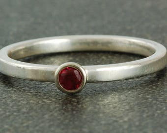 July Birthstone Ring | Natural Ruby | Sterling Silver Ring | White or Yellow Gold Bezel | Stacking Ring