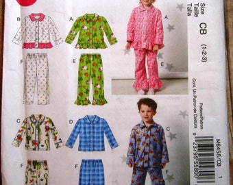 Easy Sew Toddlers Pajamas Tops and Pants Sizes 1 2 3 McCalls Pattern M6458 UNCUT