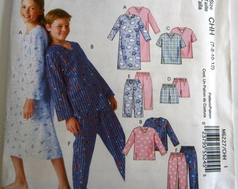 Easy Sew Boys and Girls Nightshirt, Pajama Tops, Shorts and Pants Sizes 7 8 10 12 McCalls Pattern  M6227 UNCUT
