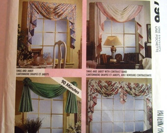 Window Treatments 4 Styles, Swag and Jabot, Double and Triple Swags McCalls Pattern 5796/P361/744 UNCUT