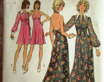 Misses Halter-Dress Two Lengths and Unlined Jacket Size 12 Vintage 1970s Simplicity Pattern 5561 Cut/Complete