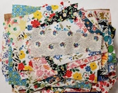 Vintage Fabric Scraps Feedsack and Cotton All Florals Quilting Sewing Crafting Junk Journals Planners Set 34