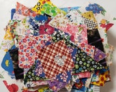 Vintage Fabric Scraps Feedsack and Cotton All Florals Quilting Sewing Crafting Junk Journals Planners Set 35