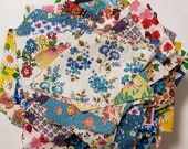 Vintage Fabric Scraps Feedsack and Cotton All Florals Quilting Sewing Crafting Junk Journals Planners Set 36