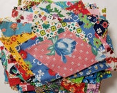 Vintage Fabric Scraps Feedsack and Cotton All Florals Quilting Sewing Crafting Junk Journals Planners Set 33