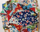 Vintage Fabric Scraps Feedsack and Cotton All Florals Quilting Sewing Crafting Junk Journals Planners Set 37