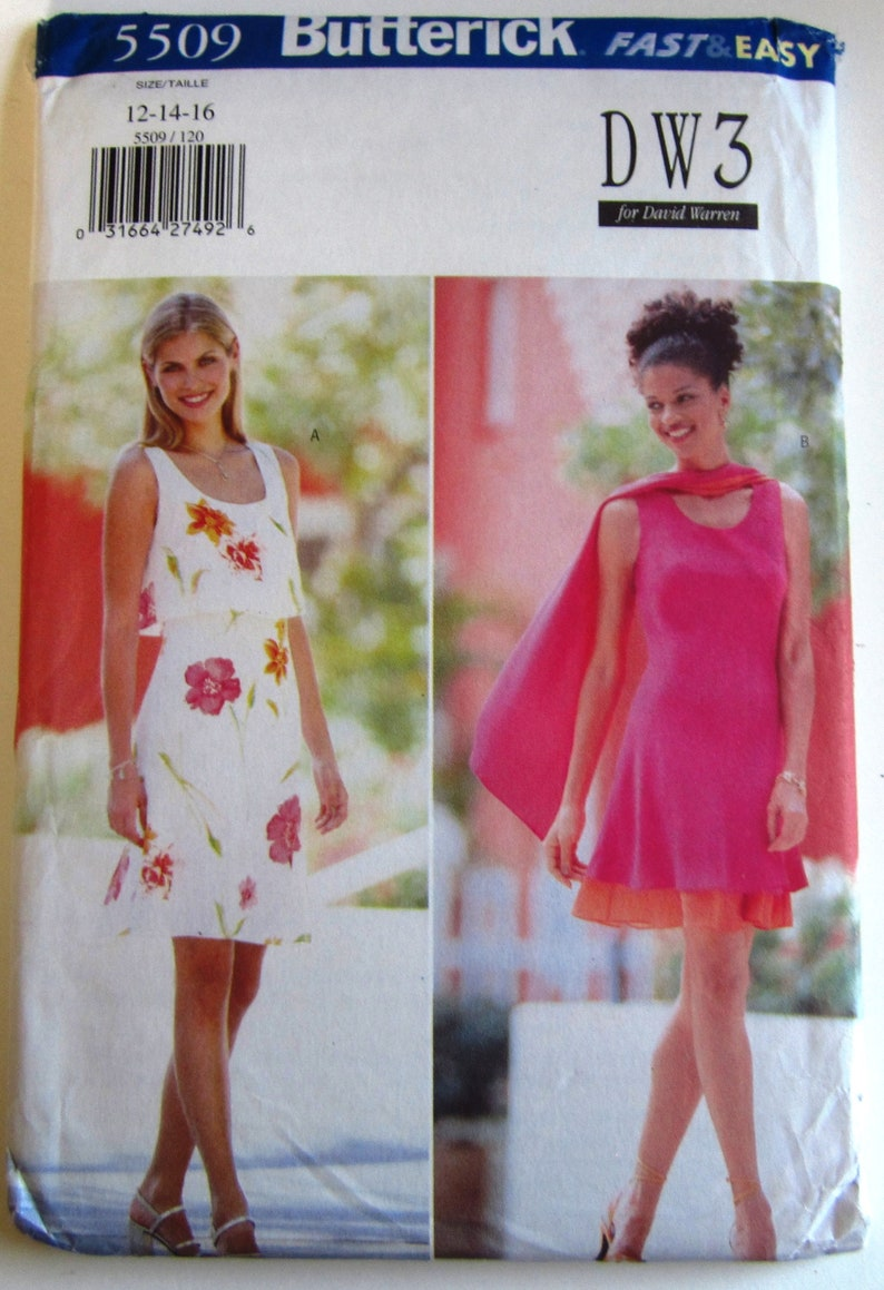 Very Easy Sew Misses Sleeveless Dress 2 Styles Lined and Scarf Sizes 12 14 16 David Warren Butterick Pattern 5509 UNCUT