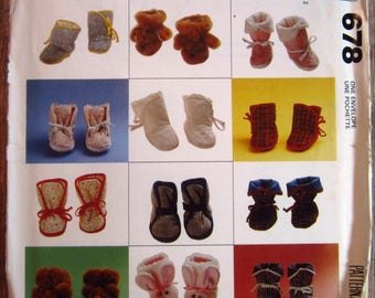 Infants Booties 8 Styles Quilted and Animal Versions Sizes NB S M L Vintage 1990s McCalls Crafts Pattern 678/5131 UNCUT