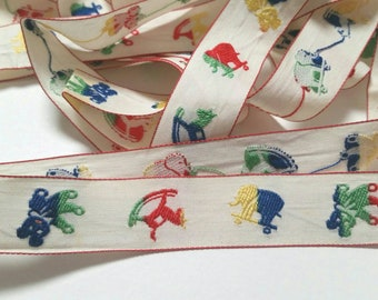 Cute Vintage Juvenile Embroidered Sewing Trim 1 Yard-Journals, Doll Clothes, Crafting, Cardmaking, Scrapbooks, Planners