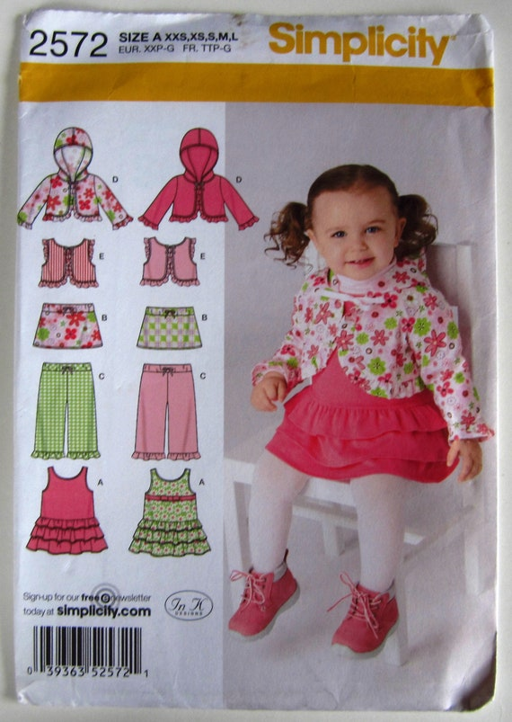 New Uncut Simplicity Pattern 1701 Baby Size XXS to L Dress Romper and Panties