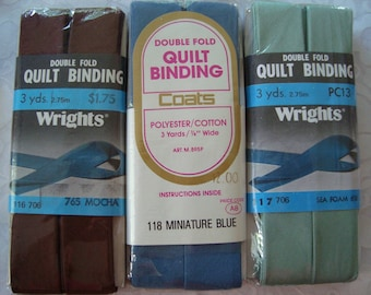 A Set of 3 Assorted Colors of Double Fold Quilt Bindings..Mocha-Miniature Blue and Sea Foam Green