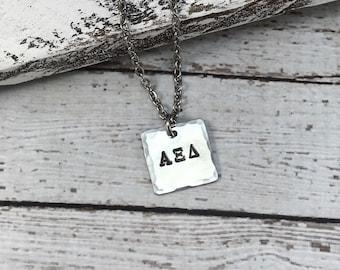 Alpha Xi Delta Greek Letter Necklace, Sorority Necklace, Greek Jewelry, Sorority sister jewelry, Big Sister little sister Jewelry