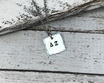 Delta Zeta Greek Letter Necklace, Sorority Necklace, Greek Jewelry, Sorority sister jewelry, Big Sister little sister Jewelry