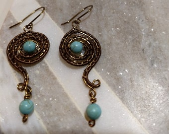 Beautiful Turquoise Wire Wrapped Earrings