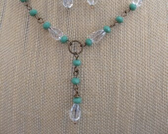 Rock Crystal Green Beaded Lariat Necklace and Matching Earrings