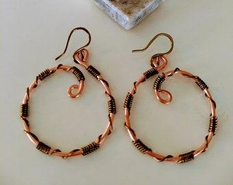 Copper Wire Wrapped Hoop Artisan Earrings