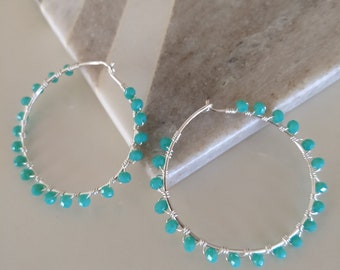 Aqua Blue Jade Wire Wrapped Hoop Silver Plated Earrings Loveswan Jewelry