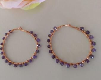 Beautiful Amethyst Wire Wrapped Hoop Copper Earrings Loveswan Jewelry