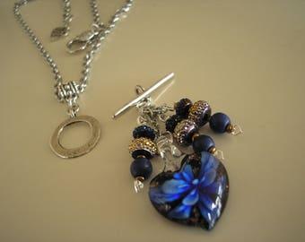 Lampwork Glass Heart Blue Flower Necklace