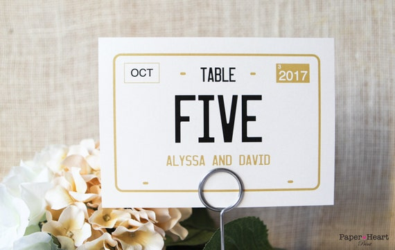 wedding license plate car theme table numbers sign custom etsy