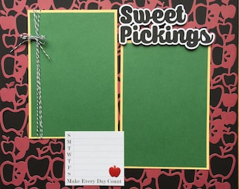 Apple Picking Scrapbook Page, Apple Orchard Scrapbook Page, Premade Apple Picking Scrapbook Page, 12x12 Album Pages, Family Scrapbook Pages