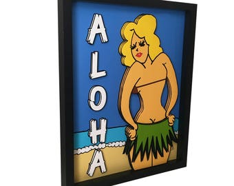 Hula Girl Art Tiki Art Print Tiki Decor Hula Girl Print 3D Art Hawaiian  Decor Aloha Sign Tiki Culture Tiki Bar Decor Tiki Room Pop Art Print
