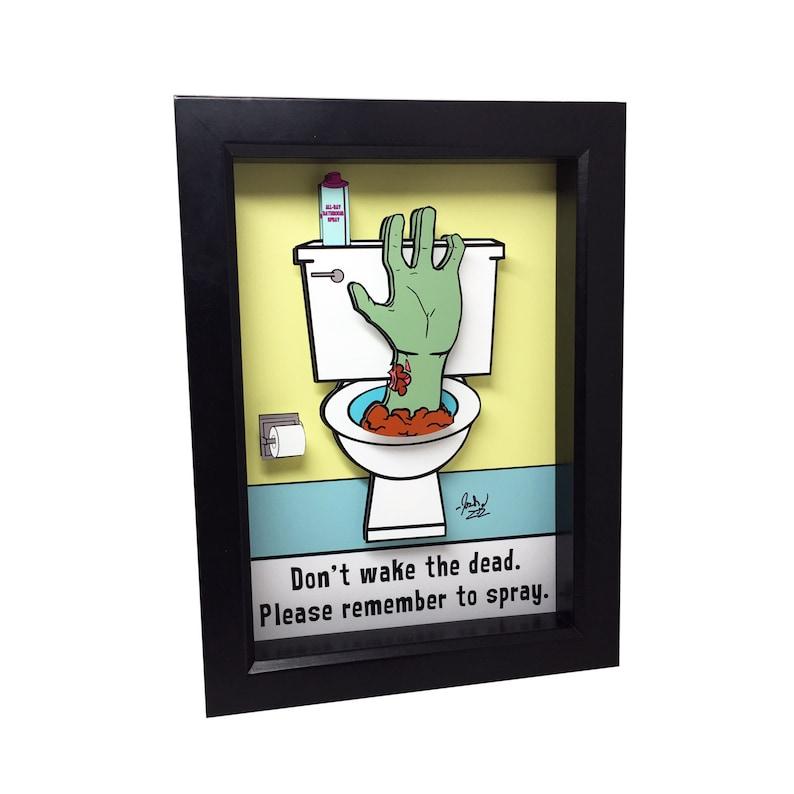 Zombie Decor Funny Bathroom Wall Decor 3D Art Funny Bathroom image 0