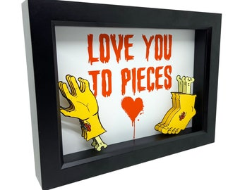 Love You To Pieces Horror Sign Decor Love You Sign Horror Decor Horror Art Horror Gifts Horror Valentines Day Gift Heart Art Bloody Art