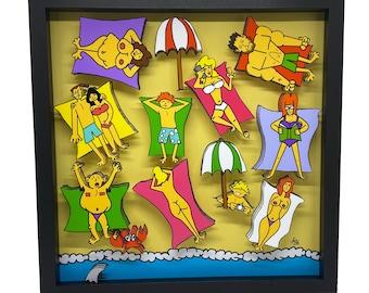 Topless Beach Decor Beach Wall Art Topless Art Topless Women 3D Art Beach Wall Decor Beach Art Women Art Print Tropical Print Tropical Art