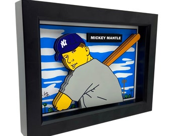 Mickey Mantle Rookie Card 3D Art New York Yankees Art Mickey Mantle Art NY Yankees Print Mickey Mantle Baseball Card Art Baseball Print