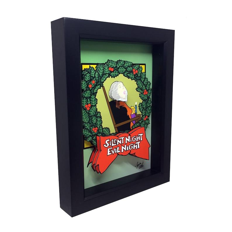 Black Christmas Horror Art Silent Night Evil Night Horror Wall image 0