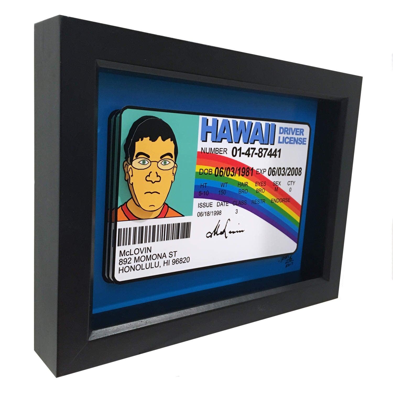 McLovin Fake Führerschein ID Superbad 3D Art McLovin Hawaii