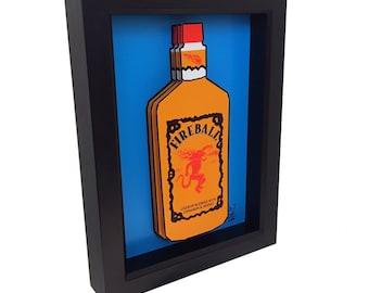 Fireball Whiskey 3D Pop Art Liquor Bottle Whisky