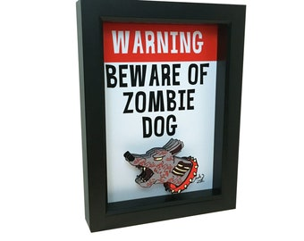 Beware of Dog Sign Zombie Art Zombie Dog Art Prints Dog Print 3D Art Zombie Gifts Horror Decor Horror Art Dog Decor Dog Lover Gift Dog Sign