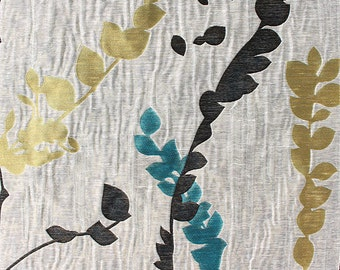 Custom Curtains In Greige With Black Teal Yellow Green Leaf Pattern One Panel Lining Sizes Available
