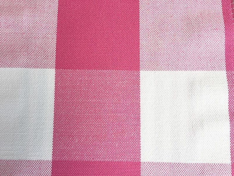 Custom Curtains Valance Roman Shade Shower Curtains in Magenta Large Gingham Pattern Fabric