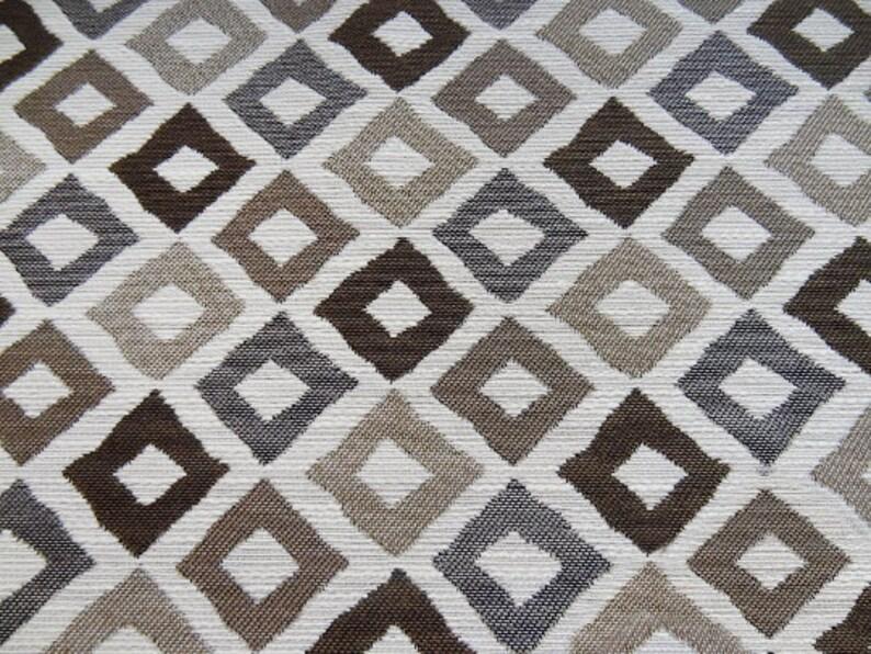 Custom Curtains Valance Roman Shade in Coffee Brown  Beige in Artistic Geometric Pattern