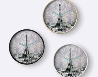 romantic Paris violet La Vie en Rose - wall clock