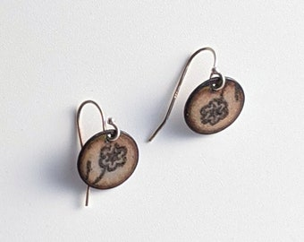 Pink Cherry Blossom Earrings, Enamel Dangle Earrings on Sterling Silver, Floral Earrings