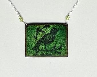 Avocado Green Rectangle Enamel Bird Necklace,  Sterling Silver and Peridot Bird Lover's Necklace