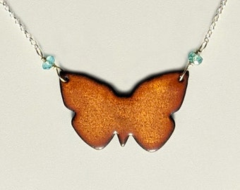 Reversible Butterfly Necklace, Shimmering Gold and Aqua Blue Transparent Enamel Butterfly Pendant with Blue Topaz Beads