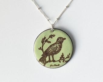 Pastel Green & Brown Enamel Bird Necklace,  Moss Green Bird Lover's Pendant