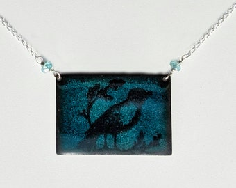 Aqua Blue Rectangle Enamel Bird Necklace,  Sterling Silver and Apatite Bird Lover's Necklace